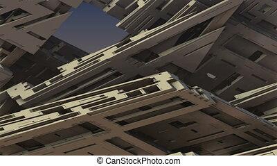 concrete complex architecture - 3D particle motion...