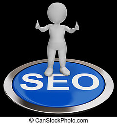 SEO Button Shows Internet Marketing And Optimizing - SEO...