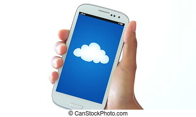 Cloud Account - A person holding a mobile phone with a cloud...
