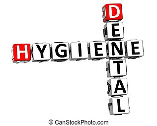 3D Hygiene Dental Crossword on white background