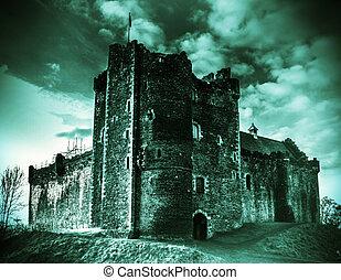 Moody Castle  - Shot of Doune Castle in Scotland