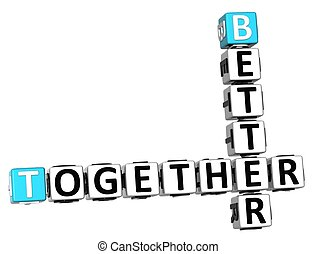 3D Better Together Crossword on white background