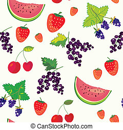 Fruits and berry funny seamless pattern