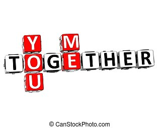 3D You Me Together Crossword on white background