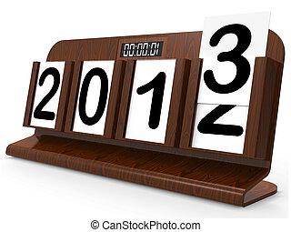 escritorio, calendario, representa, año, dos, mil,...