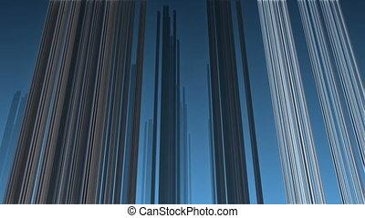flight over steel complex structure