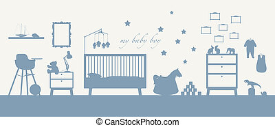baby boy room interior blue silhouette - blue silhouette of...