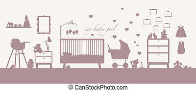 baby girl room interior pink silhouette - pink silhouette of...