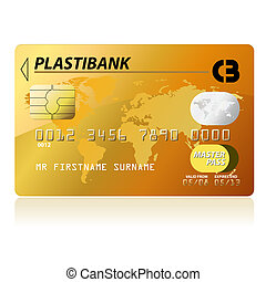Gold credit card, highly detailed vector illustration