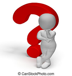 Question Marks And Man Shows Confusion Or Unsure - Question...