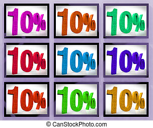 10 On Monitors Showing Several Discounts And Promotions - 10...