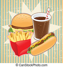 Retro background with fast food