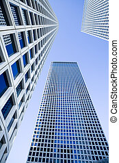 Modern office building - Skyscrapers under the blue sky