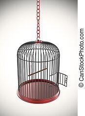 Nyílik, kalitka, madár