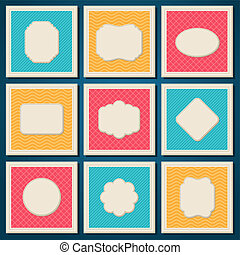 Vintage patterned cards templates set