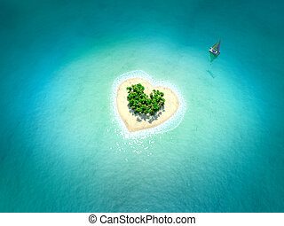 Tropical Island in form of heart - 3d rendered image