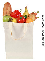Groceries in a bag - Reusable bag with groceries including a...