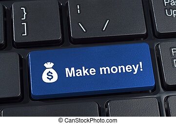 Make money button with icon sack and dollar sign. Internet...
