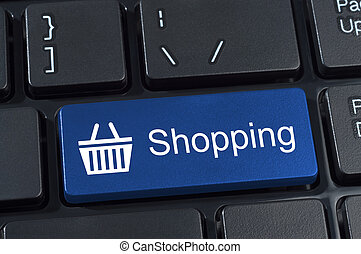 Shopping button keypad with basket icon. Internet concept of...