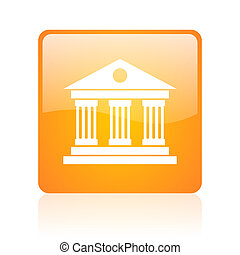 museum orange square glossy web icon