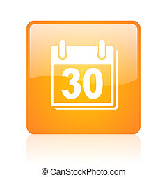 calendar orange square glossy web icon