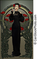 Victorian Beauty in Black - illustration of a lady and red...