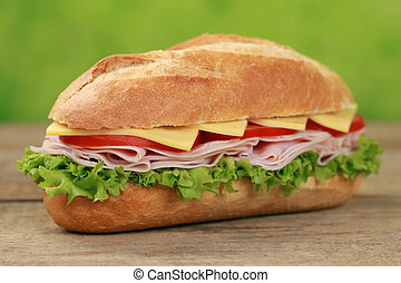 Sub Sandwich with ham - Sub Sandwiches with ham, cheese,...