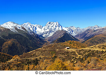 Snow mountain landscape in autumn