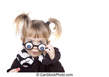 Silly Glasses - A little girl peeking out from silly glasses