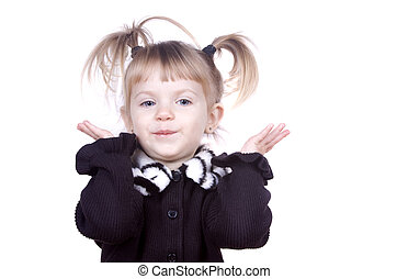 Shrug and Smile - A little toddler girl smiling and...