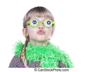 Wacky Glasses - A little girl wearing silly glasses