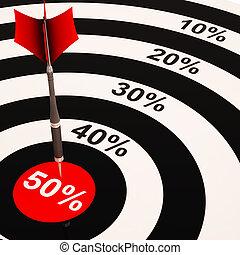 50Percent On Dartboard Shows Big Savings