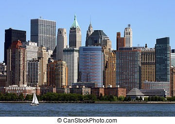 Manhattan Skyline - Manhattan skyline with Hudson River and...