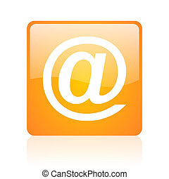 at orange square glossy web icon