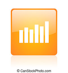 bar graph orange square glossy web icon