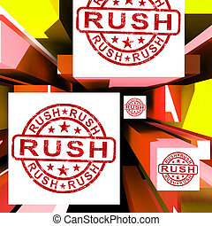 Rush On Cubes Showing Express Delivery And Quick Dispatch