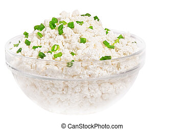 Fresh cottage cheese (curd) in glass bow, isolated on white...