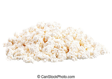 Fresh cottage cheese curd heap, isolated on white background...