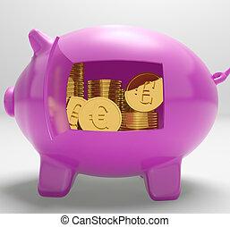 Euros In Piggy Shows Rich European Finances