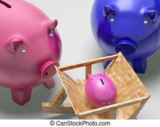 Piggy Family Shows Planning Protection And Savings - Piggy...