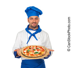 Pizza Chef - Young chef with Neapolitan pizza Margarita
