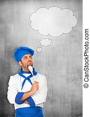 Chef Idea! - Young chef think on gray background