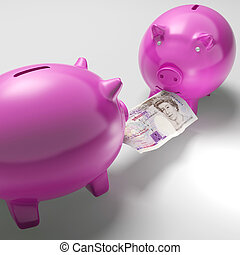 Piggybanks Fighting Over Money Showing Savings Or Financial...