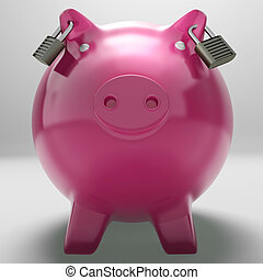 Piggybank With Locked Ears Showing Monetary Protection