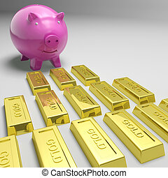 Piggybank Looking At Gold Bars Showing Gold Reserves Or...