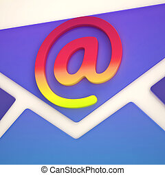 At Sign Envelope Shows Correspondence on Web
