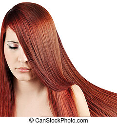 Red HairBeautiful Woman with Straight Long Hair over white
