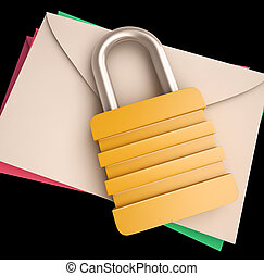 Lock Over Letters Shows Correspondence Safety