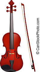Violin with the fiddlestick - Vector illustration - vector...
