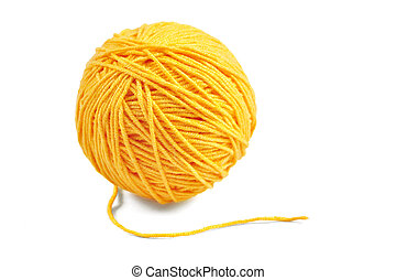 Yellow yarn ball - Yellow wool yarn ball isolated on white...